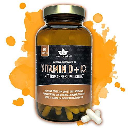 Vitamin D und Vitamin K2 mit Magnesium - HOCHDOSIERTE Markenqualität - SCHADSTOFFGEPRÜFT - 180 vegane Kapseln im Glas ohne unnötige Zusatzstoffe