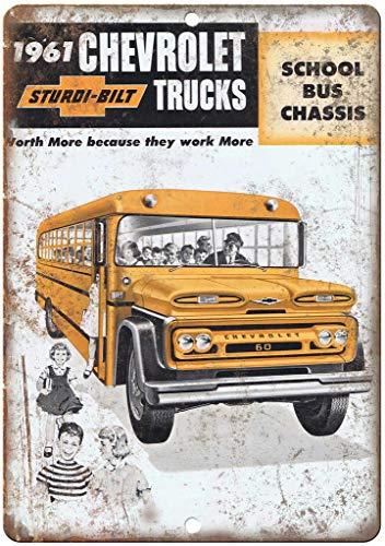 niet Chevrolet Truck School Bus Chassis Metalen Poster Tin Muur Teken IJzeren Schilderen Waarschuwingsbord Muur Plaque Decoratie voor Bar Café Hotel Office Home Garden