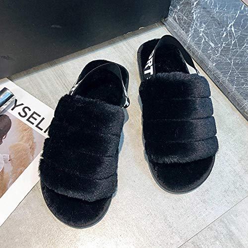 ENLAZY Anello da Donna Elastico per Piedi con Pantofole in Peluche Antiscivolo in Cotone Felpato Pantofole Infradito in Pelliccia Sintetica Home Spa, Nero, 36-37