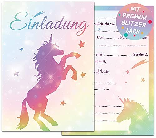 Einhorn Einladungskarten Kindergeburtstag | 12 Glitzer Geburtstagseinladungen | Kindergeburtstag Einladungskarten für Mädchen | Einhorn Mottoparty