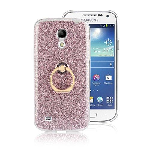 pinlu Coque Pour Samsung Galaxy S4 Mini (i9190) 4.3 pouce AntiChoc Brillant Scintillant TPU Doux Souple avec Antidérapant Function ultra-mince Etui Avec Boucle d'anneau Désign Rose