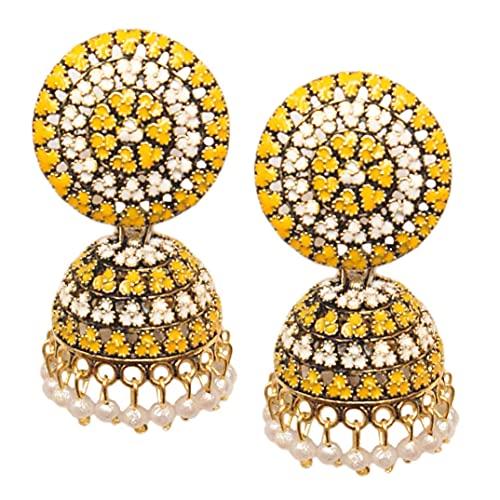 Pahal Traditional Jaipur Yellow White Meenakari Oxidized Big Gold Jhumka Earrings Indian Bollywood White Pearl Bridal Jewelry for Women
