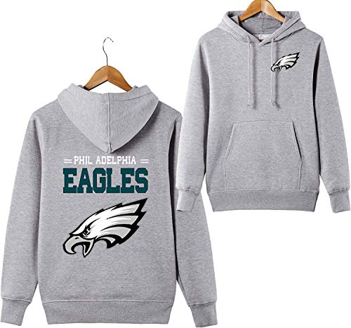 Men's 3D Hoodies Philadelphia Eagles NFL Football Team Uniform Pattern Digital Printing Lover Hoodies (XL, Gray)