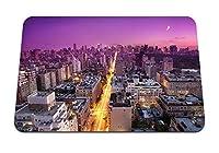 26cmx21cm マウスパッド (ニューヨークの日没の建物都市ライトトップビュー) パターンカスタムの マウスパッド
