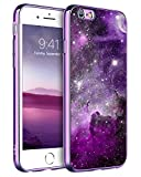 BENTOBEN iPhone 6S Case, iPhone 6 Case, Slim Fit Glow in The Dark Shockproof Protective Hybrid Hard PC Back Soft TPU Bumper Cover Nebula Space Design Phone Case for iPhone 6 / 6S (4.7 inch), Purple