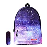 Galaxy School Backpack SKL School Bag Bookbag Travel Laptop Backpack Casual Daypack for Girls Women Students(Galaxy Purple with Pencil Bag)