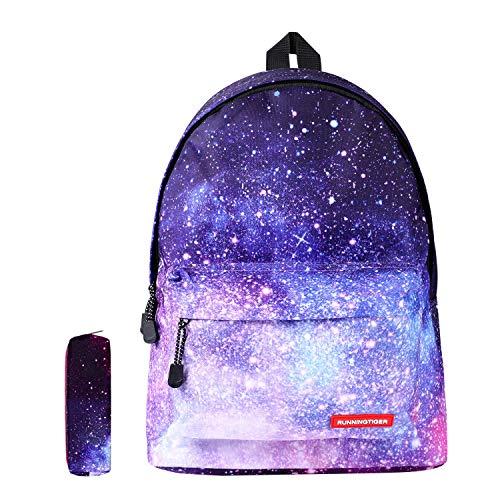 Schulranzen Schulrucksack Schultaschen Kinderruchsack Unisex Galaxy Backpack Jungen Mädchen Rucksäcke College Schulrucksack mit Laptopfach Kinder Daypacks mit Mäppchen Lila Galaxy