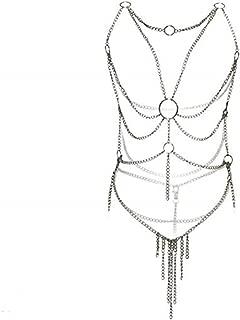 Women's Lingerie Chain Set Cross Enticing Tassel Body Link Harness Metal Chain Set Silver