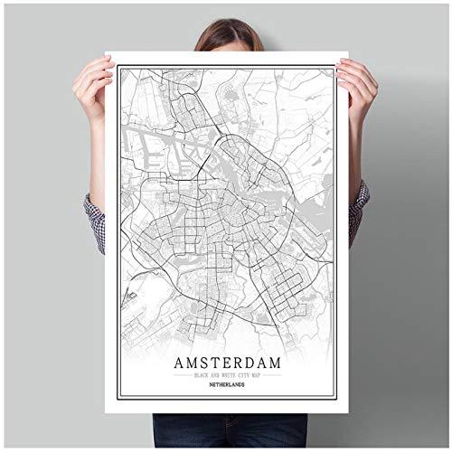 Zhaoyangeng Nederland Zwarte Witte Wereld Kaart Poster Woonkamer Amsterdam Breda Muur Kunst Foto's Huis Decor Canvas Schilderij-50X70Cm Unframed