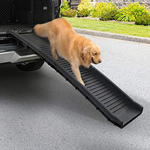 """COZIWOW 61""""L Heavy Duty Portable Folding Dog Ramps for Large Dogs SUV, Truck Car Ramp Stairs Step Ladder for Pet, Non-Slip Design for Pool Boat"""