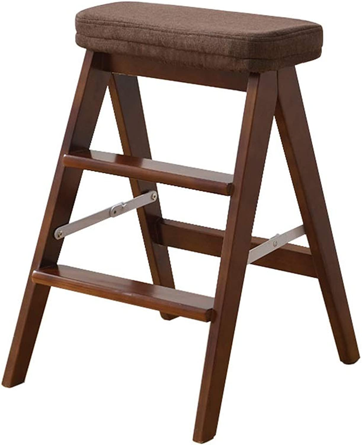 Folding Portable Stepladder Stool with Brown Sponge Cushion,Multipurpose Small Wood Ladder Chair Creative Home Kitchen Step Ladder Max Load 150kg