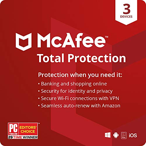 McAfee Total Protection 2021,3 Device, Antivirus Internet Security Software, VPN, Password Manager, Privacy, 1 Month with Auto Renewal - Amazon Exclusive Subscription