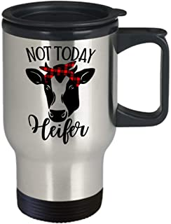 Not Today Heifer Mug With Lid Funny Dairy Farmer Cow Lover Novelty Birthday Christmas