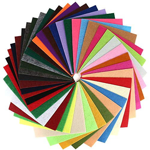 40 Pcs 6 x 6 Inches Craft Felt Fabric Sheets, Assorted Colors Non Woven Felt Sheets, Thick Felt Fabric Square for Kids, DIY Sewing Crafts, Patchwork, School Projects, Decoration.