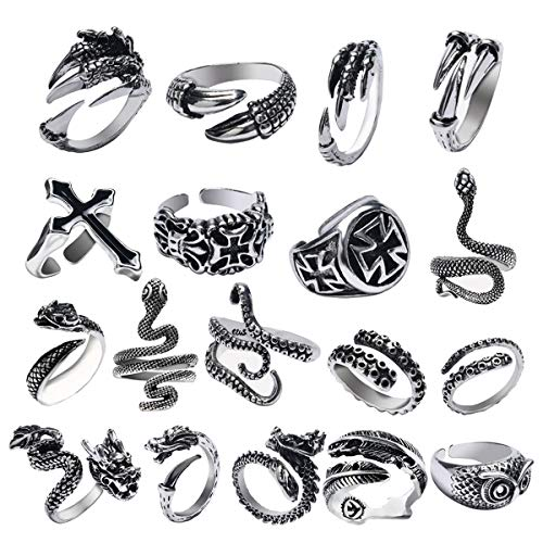 KESOCORAY 18 PCS Opening Gothic Punk Rock Rings Diverse Dragon Claw Owl Cross Octopus Snake Rings