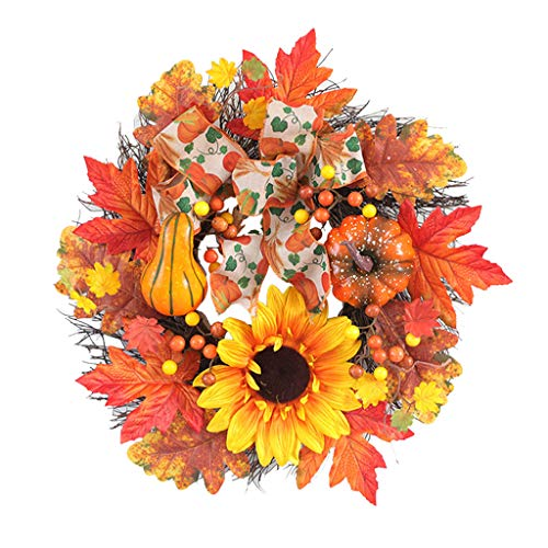 Boping Fall Wreath Front Door Decor Wreath Fall Decorations Autumn Leaves Wreath Harvest Wreath Thanksgiving Autumn Wreath Decoration Pumpkin Berry Maple Leaf Wreat Home Indoor Outdoor(1Pc 19.7'')