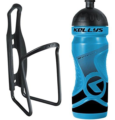 Kellys Fahrrad Trinkflaschenhalter Set Caliber + Trinkflasche 0,7 Sport, Namib Schwarz, grün, Blau, Gelb, Weiss, Farbe:Blau