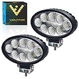 00 Voltage Automotive LED Work Light 24W 5 inch Oval White OfF-Road Flood Light Daytime Driving Light (2 Pack)