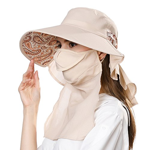 Comhats Mujer Sol Verano Algodón Sombrero De ala Ancha Tapa Abatible UPF 50 + Barbilla Manera Gorro