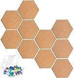 KAHEIGN 10 Piezas Tablero de Corcho Hexagonal, Tablón de Anuncios Autoadhesivo de Bricolaje Tablero de Mensajes de Aplicación Multifuncional para Bricolaje con 40 Piezas de Alfileres de Colores