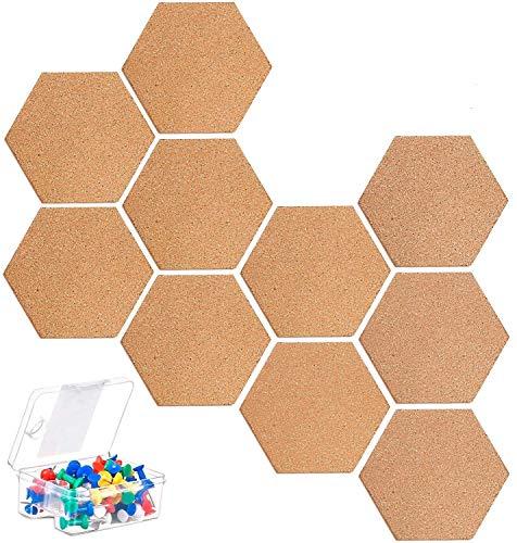 KAHEIGN 10Pcs Pinnwand Korkplatte Selbstklebende DIY, Korkwand Multifunktionale Anwendung für Fotohängen, Heimdekoration und Büro Memorandum - mit 40 Stücke bunten Pinnnadeln