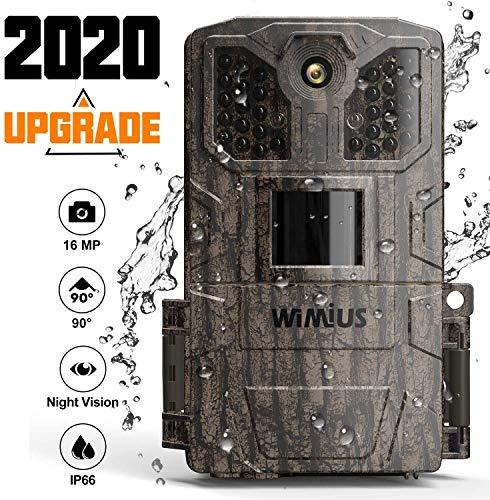 WiMiUS Wildkamera 16 MP 1080P HD Trail Game Kamera mit Nachtsicht Bewegungserkennung Wildlife Jagdkamera mit 0,5s Triggergeschwindigkeit 5,1 cm LCD IR LEDs