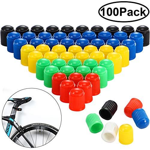 Hsei 100 tapones de plástico para válvula de neumático para coche, moto, camión, bicicleta y bicicleta, 6 colores surtidos