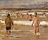 Pintura digital DIY por número para adultos Max Liebermann famosa pintura niños bañándose en el mar Artes Artesanía para la decoración de la pared del hogar