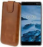 Suncase Original Etui Tasche für Nokia 6 (2018) | Nokia 6.1 *Lasche mit Rückzugfunktion* Handytasche Ledertasche Schutzhülle Hülle Hülle in Cognac