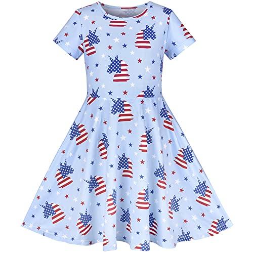 Flickor Klänning Blå Enhörning Stjärna flagga 4 juli nationaldag Kortärmad 4 år