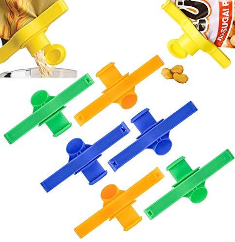 ROBAKO Müslispender Verschlussklammer/Aromaclips Kunststoff Tütenclips für Plastikbeutel Lebensmittel Snacks Tahini oder Kaffee Lagerung/6 Stück