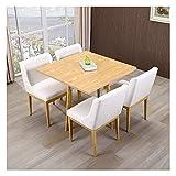 Juego de mesa de comedor para comedor y cocina, mesas y sillas modernas nórdicas Comedor en casa 1 mesa 4 sillas Mesa cuadrada de madera maciza de 90 cm Silla de cuero de ocio retro (Color: Log-White)