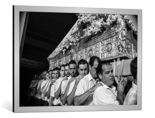 Kunst für Alle Cuadro con Marco: Nina Tvalchrelidze Virgen del Carmen Festival - Impresión artística Decorativa con Marco, 90x60 cm, Plata cepillada