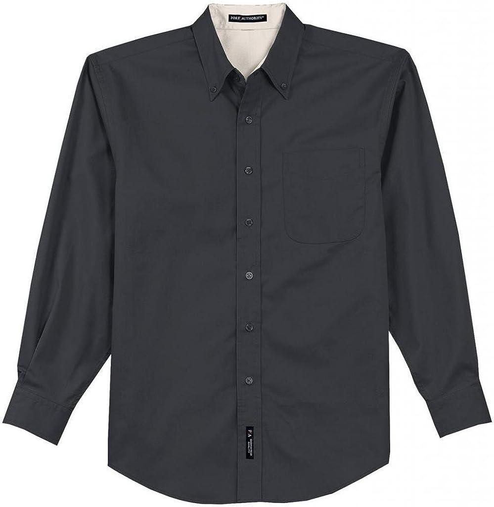 Port Authority Tall Long Sleeve Easy Care Shirt-XLT (Navy/Light Stone)