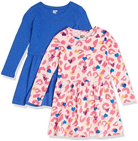 Spotted Zebra Girls Kids Knit Long Sleeve Play Dresses 2 Pack Cheetah Blue Medium product image
