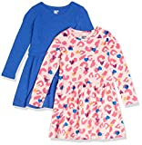 Spotted Zebra Girls' Toddler Knit Long-Sleeve Play Dresses, 2-Pack Cheetah/Blue, 4T
