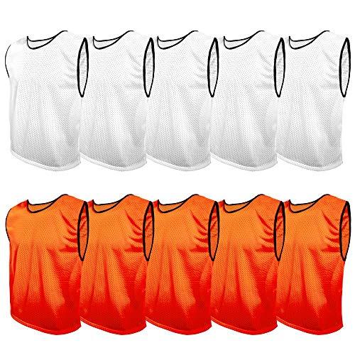 SPORTSBIBS 10 pechos de entrenamiento de fútbol, pechera para niños, jóvenes y adultos, chaleco, más de 10 colores, camiseta de correr deportiva universal XS S M L XL XXL