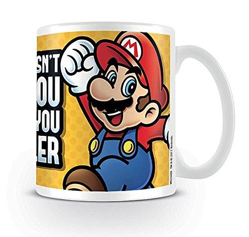 Nintendo Super Mario Tasse What Doesn't Kill You Makes You Smaller - weiß, Bedruckt, aus Keramik, Fassungsvermögen ca. 320 ml.