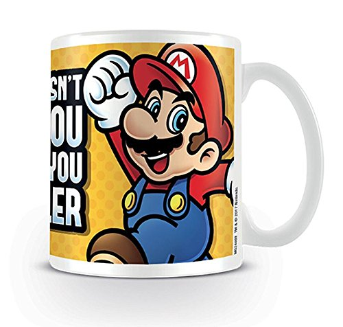 Nintendo Super Mario Tasse What Doesn't Kill You Makes You Smaller - weiß, Bedruckt, aus Keramik, Fassungsvermögen ca. 320 ml.