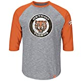 Majestic Detroit Tigers Home Stretch Cooperstown Raglan 3/4 Sleeve T-Shirt -