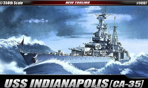 Academy Plastic Model 1 350th Scale USS CA-35 Indianapolis Military Ship Kit #14107