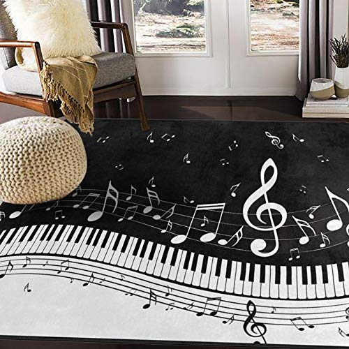 ALAZA Abstract Piano Music Note Black Area Rug Rugs for Living Room Bedroom 5'3'x4'