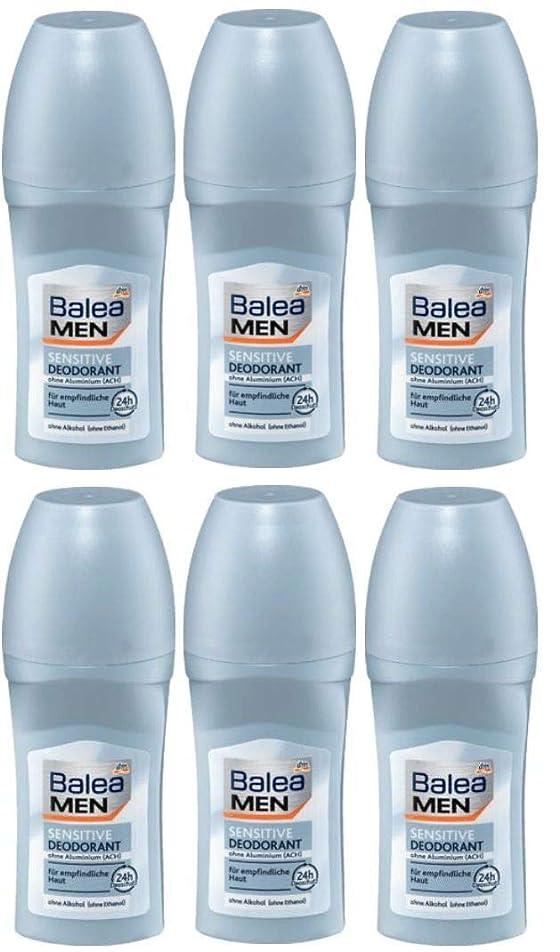 信頼性のある方向仲介者6本セット Balea Men バレア メン デオドラント ロールオン 敏感肌用 sensitive 24H 50ml【並行輸入品】