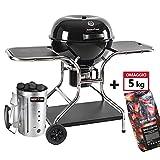 BRIGROS - Barbecue 57cm a carbonella con Ruote MasterCook. Omaggio Accenditore MasterCook e bricchette 5 kg. BBQ Compatto, Barbecue con Ruote e Carrello, BBQ a Carbone, Barbecue Portatile