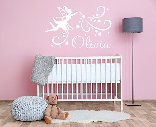 YourSecretGift AG39 Sticker Mural personnalisé avec nom et fée Magique pour Chambre à Coucher, Rose bébé, Small