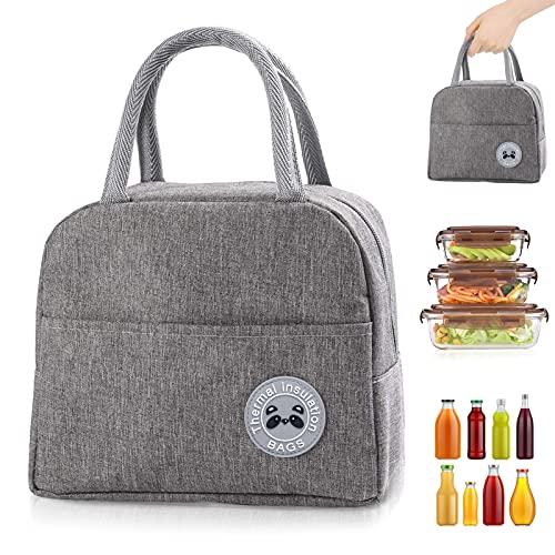 Sac Isotherme Repas, Sac de Transport Repas Lunch Bag Portable Sac Lunch Box Bag à Déjeuner Waterproof, pour Bureau l'école Voyage Camping Repas Préparés (gris)