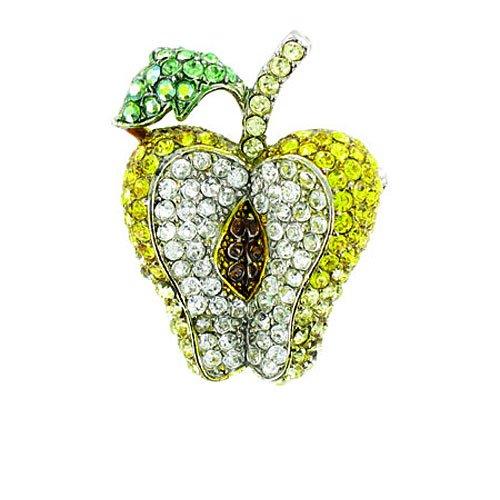 Body Bling Brosche, Apfel, versilbert, mit gelben und klaren Kristallen