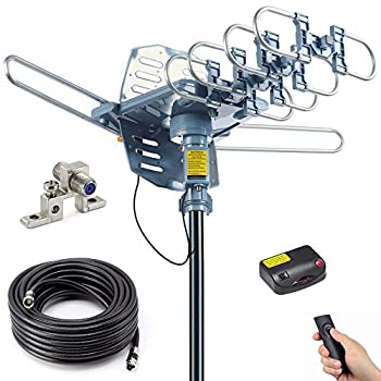 PBD Outdoor Digital Amplified HDTV Antenna 150 Mile Motorized 360 Degree Rotation Wireless Remote Control 59FT RG6 Coax Cable Coaxial Grounding Block UHF VHF 1080P 4K Support 2 TVs