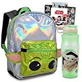 Star Wars Mandalorian School Supplies Mini Backpack Set | Baby Yoda Activity Bundle - Baby Yoda Shaped Ears Backpack with Water Bottle and Stickers