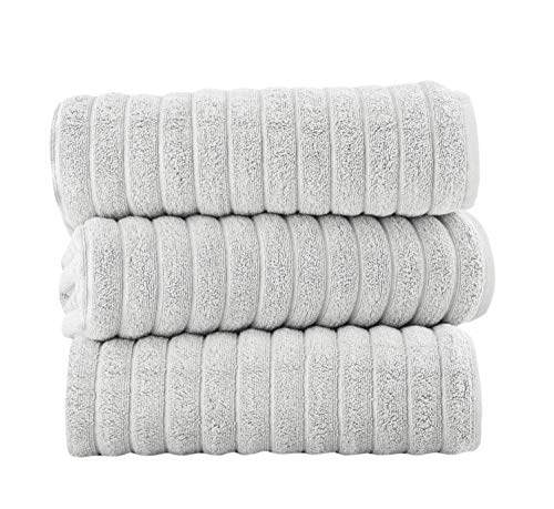 Classic Turkish Towels Luxury Bath Towel Set - Soft and Thick Oversized Ribbed Bathroom Towels Made...